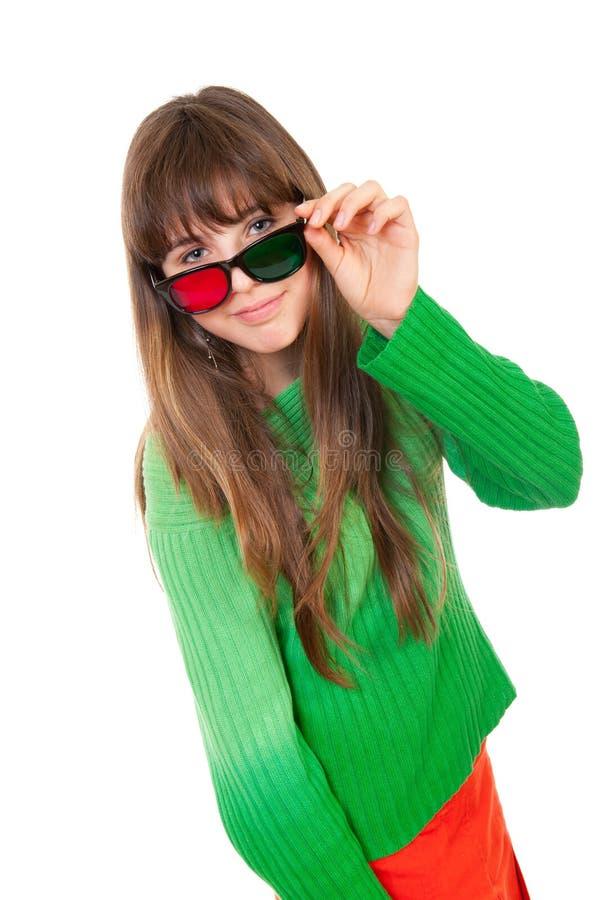 Download Girl wearing 3D glasses stock image. Image of emotion - 19109219