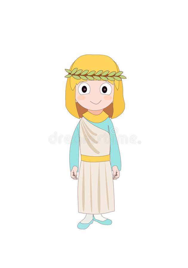 Girl wearing Ancient Rome costume for school history. Vector illustration vector illustration