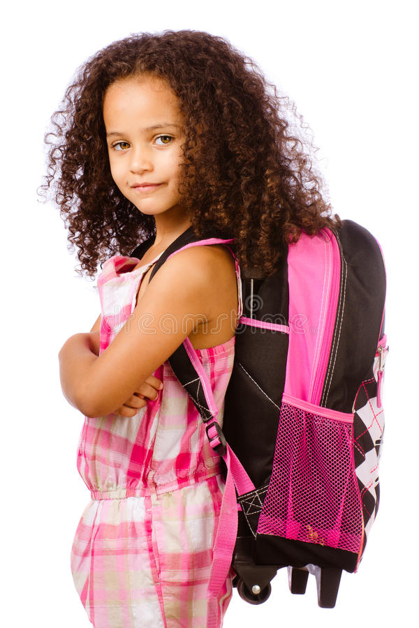 Girl Wearing Backpack Stock Image
