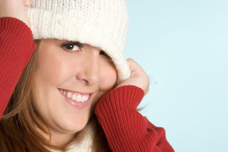 Girl Wearing Beanie stock photography