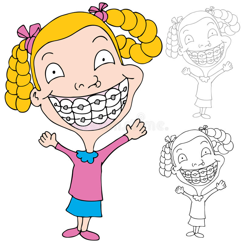 Girl Wearing Braces stock illustration