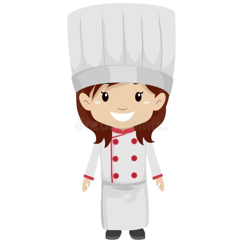 Download Girl Wearing Chef Uniform Stock Vector Illustration Of Childhood