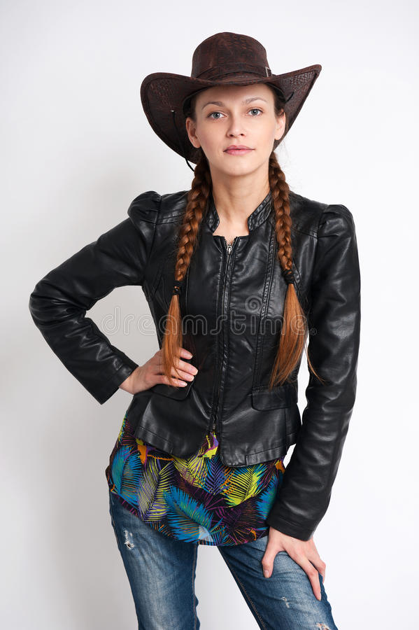 Girl wearing cowboy hat stock images