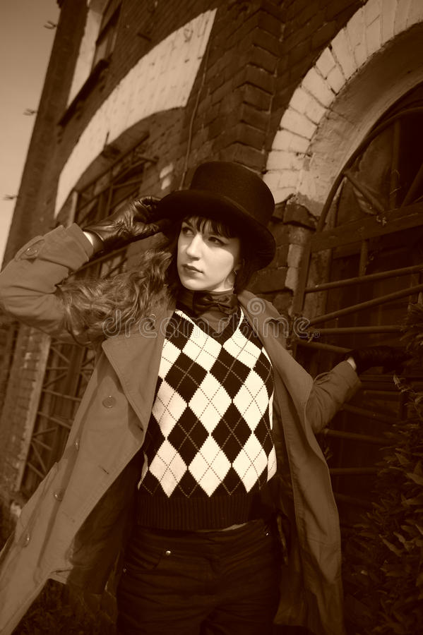 Download Girl Wearing A Cylinder Hat Stock Photo - Image: 16957234