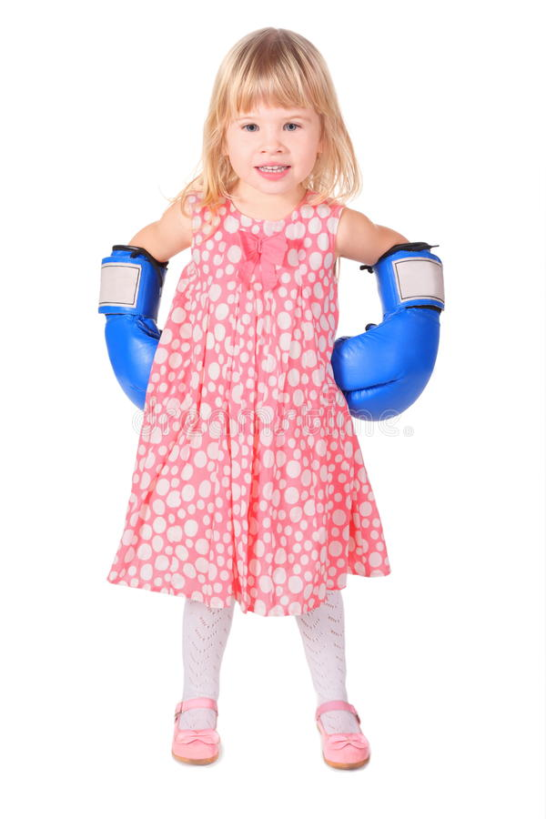 Girl Wearing Dress And Boxers Gloves Is Standing Royalty Free Stock Photo
