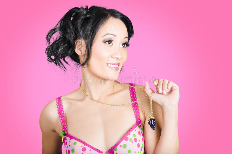 Download Girl Wearing Exquisite Jewelry On Pink Background Stock Image - Image of isolated, necklace: 33045431