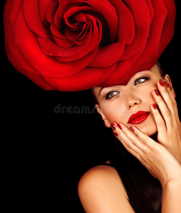 Girl wearing floral hat royalty free stock photography