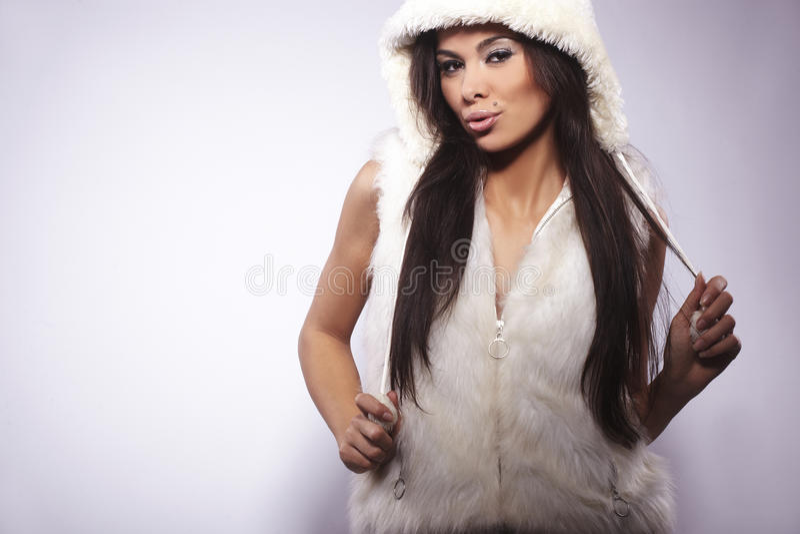 Girl Wearing Fur Lined Coat Hood Stock Image