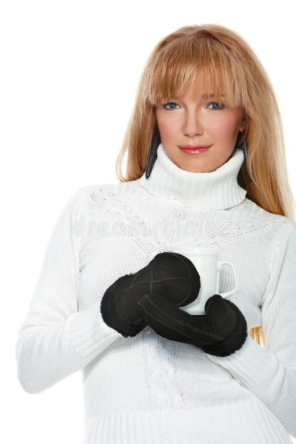 Girl Wearing Mittens Royalty Free Stock Image