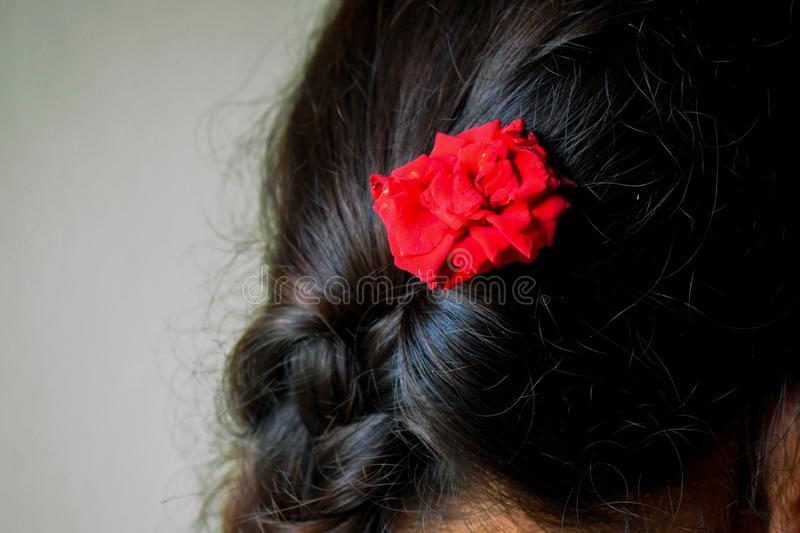 Picture of girl wearing red rose in her hairs stock photos