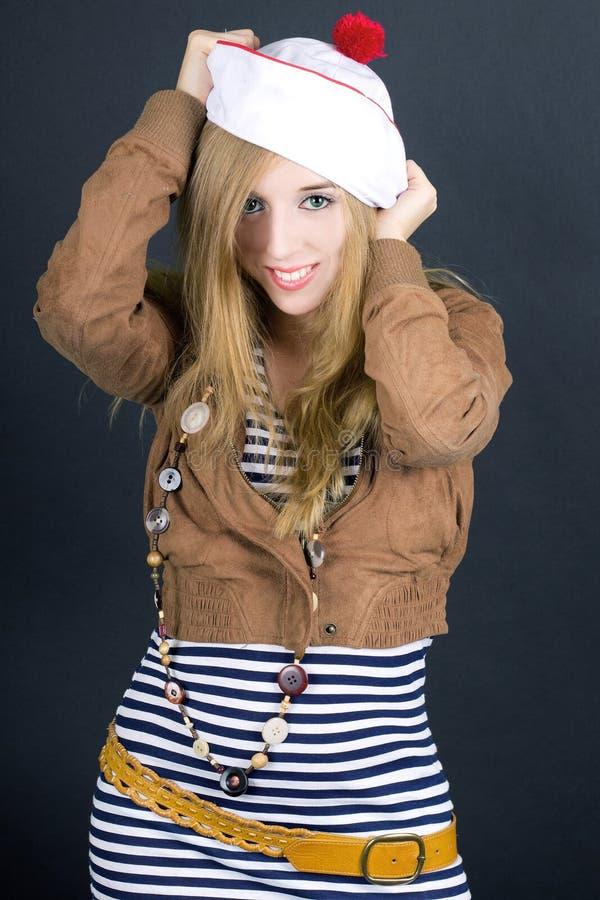 Girl wearing sailor dress stock images