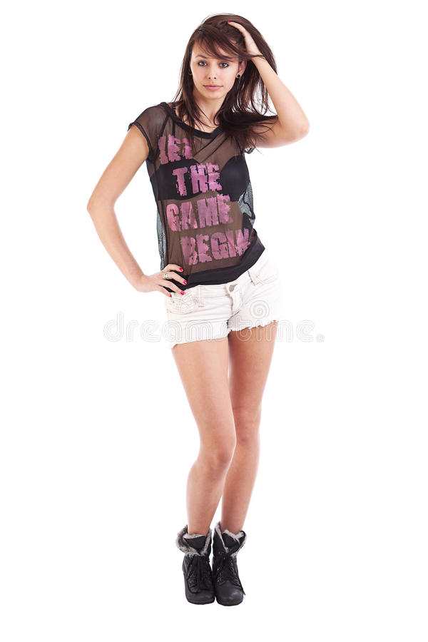 Girl Wearing Shorts Royalty Free Stock Images