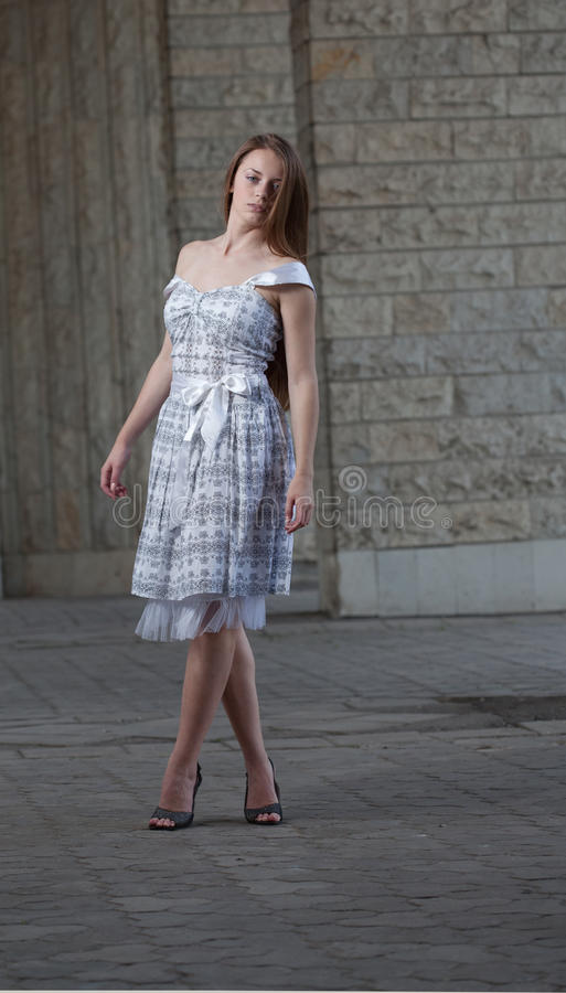 Girl Wearing In White Dress Stock Photo