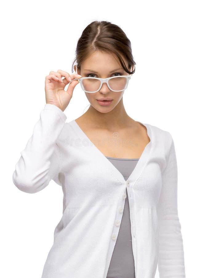 download girl wearing white frame glasses stock image image 35864503 - White Frame Glasses