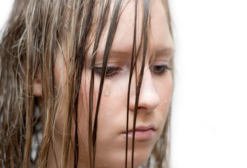 Girl weep. Portrait of the unnerved girl which weep stock photo