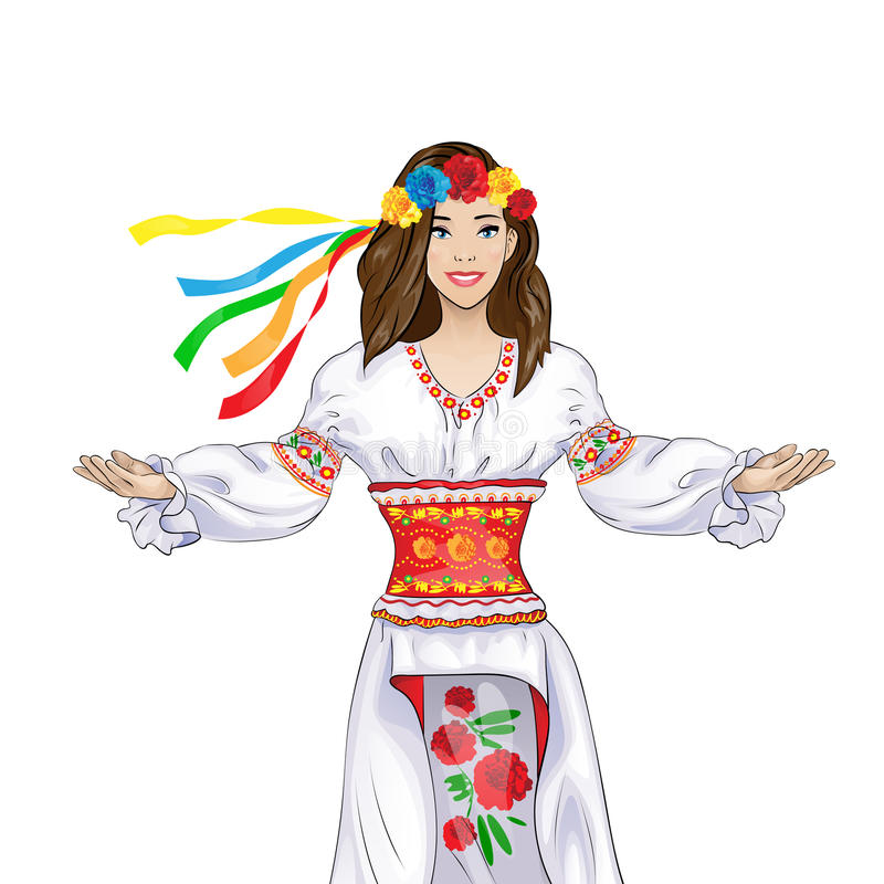 Girl welcome hand gesture in ukrainian national royalty free illustration