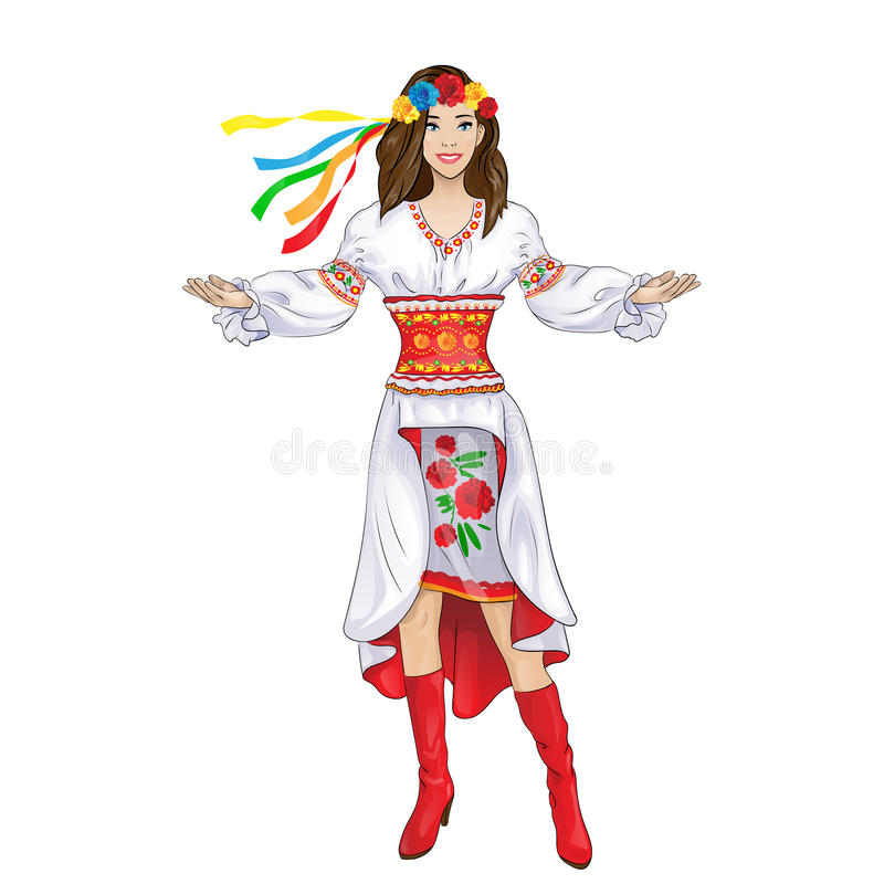 Girl welcome hand ukrainian costume clothes vector illustration