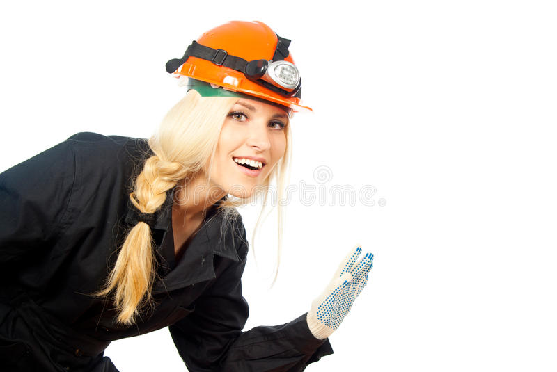 Download Girl welcomes the builder stock photo. Image of hold - 27314610