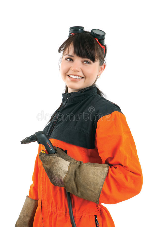 Girl welder working with burner royalty free stock photography