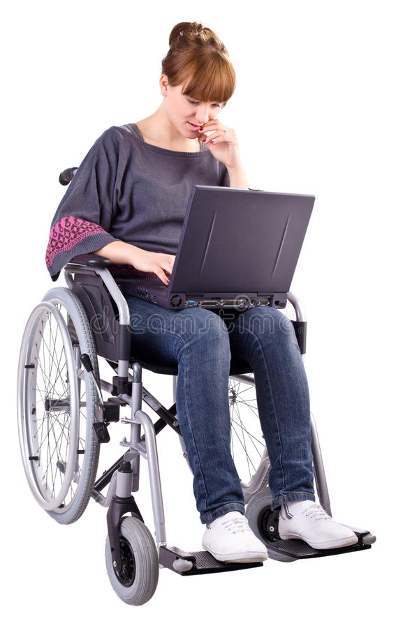 Girl on wheelchair stock photography