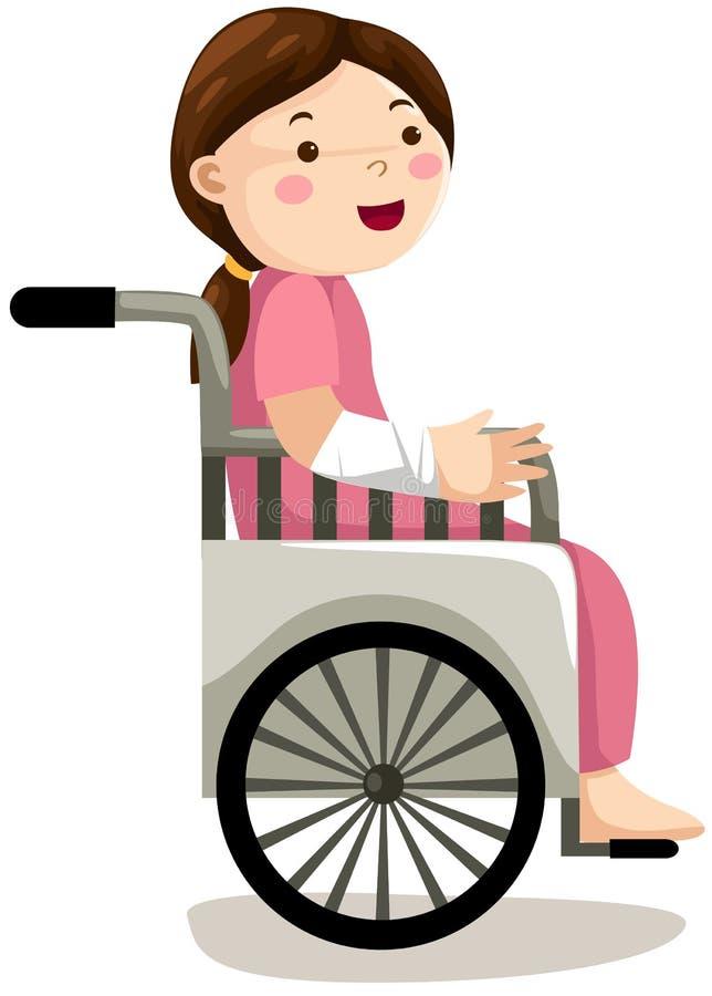 Girl in wheelchair royalty free illustration
