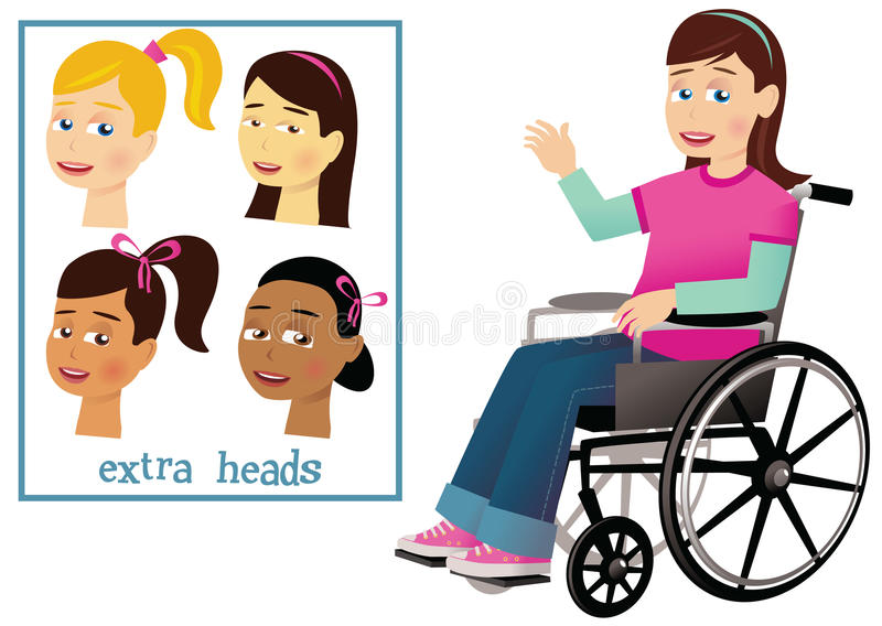 Girl and wheelchair. An illustration of a young girl in a wheelchair. E. P. S. 10 vector file included with image, isolated on white. To add a different head royalty free illustration