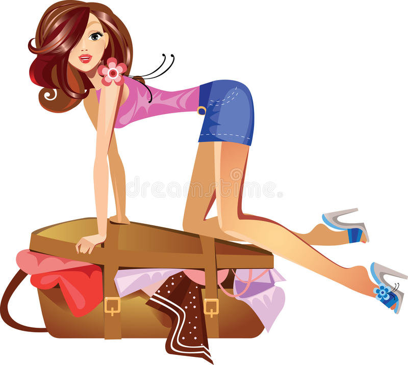 Girl which closes the suitcase vector illustration