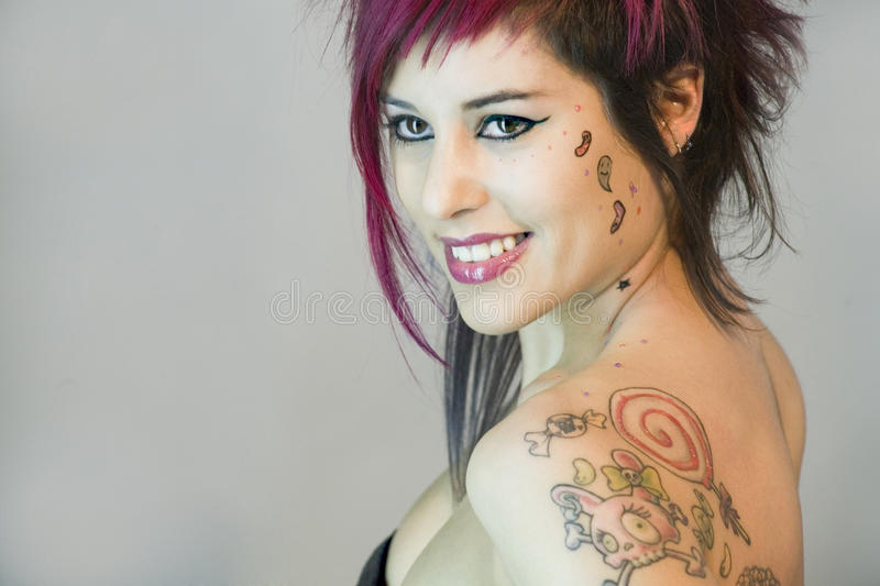 Girl whit make up and tattoo stock image