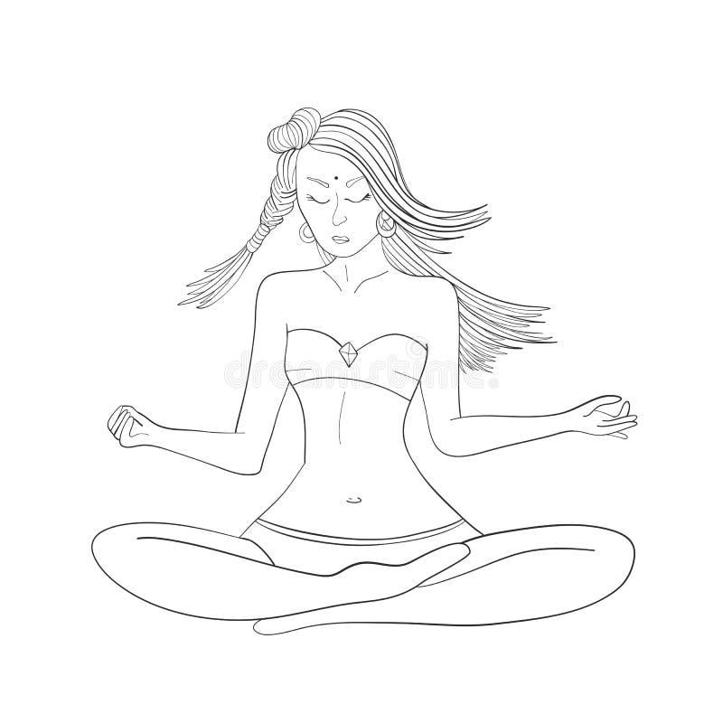 Girl. Yoga. Sea life character. Health. Vector illustration stock image