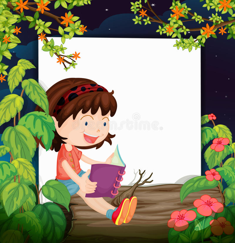 Download A girl and a white board stock vector. Illustration of poster - 33689665