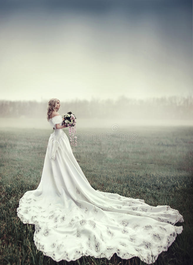The girl in white dress with long train stands in the field stock image