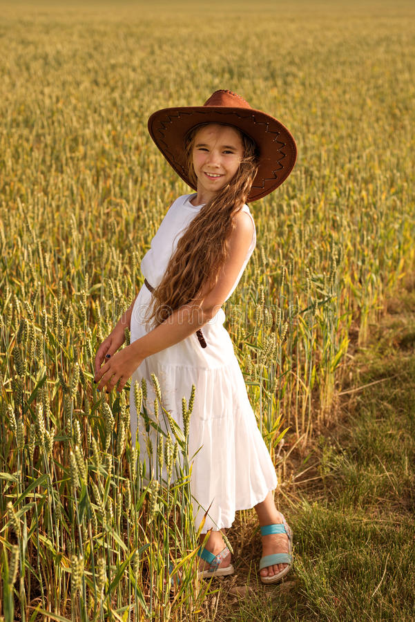 Cowgirl In Dress And Hat Stock Image Image Of Youthful