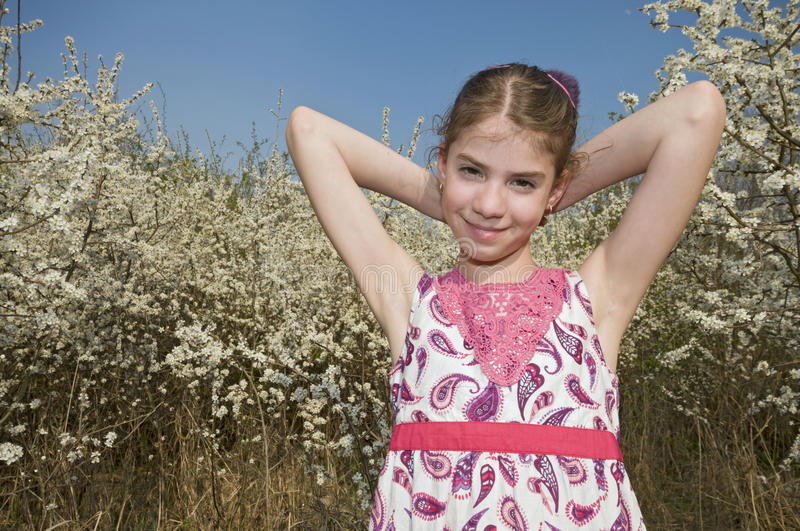 Download Girl With White Flowers Sunbath Stock Photo - Image: 30647140