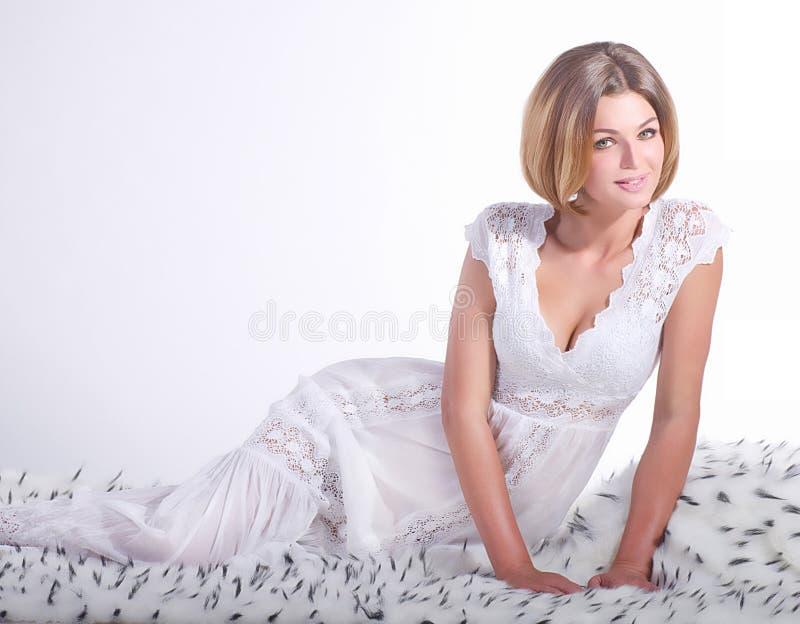 Girl On White Fur Royalty Free Stock Photos
