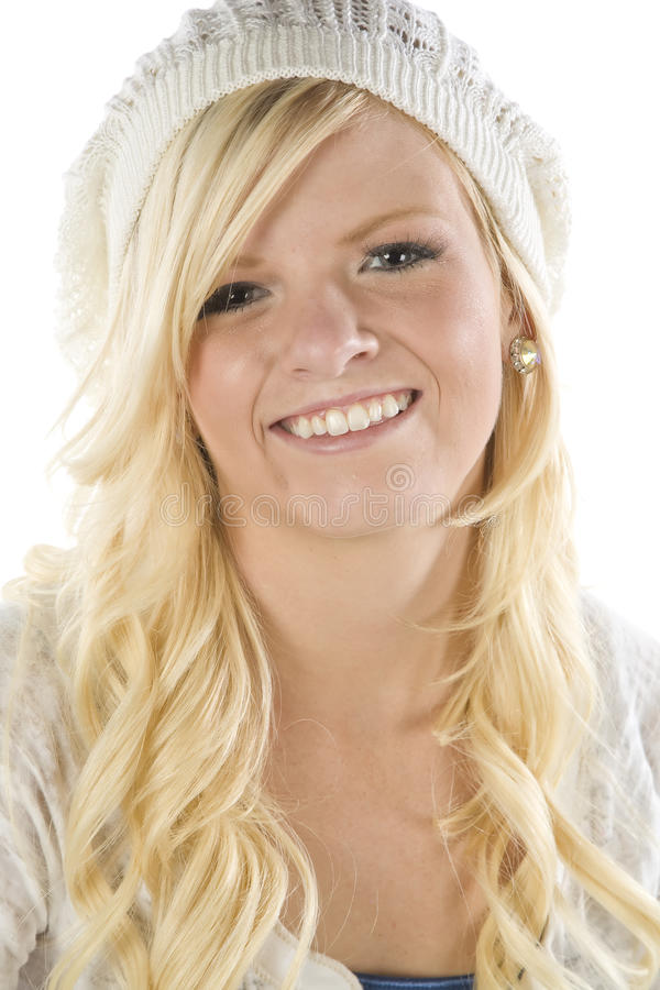 Girl in white hat up close stock photo