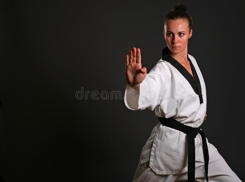 Download Girl in white kimono stock image. Image of fighter, belt - 9410469