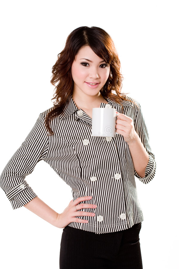 Girl with white mug stock image