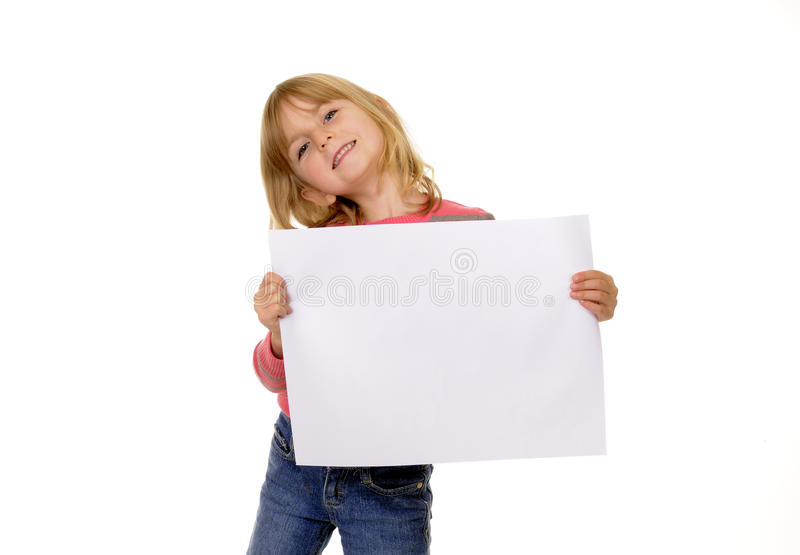 Girl with white paper stock photo