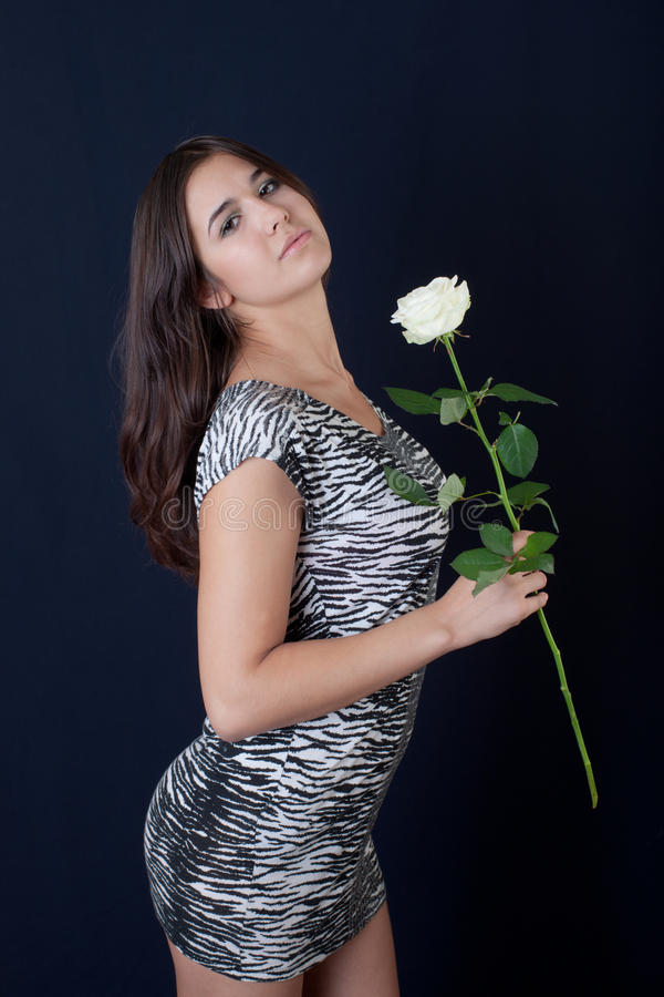 Download Girl with a white rose stock photo. Image of black, nature - 17287812