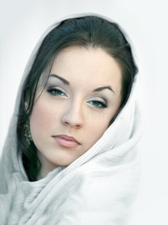Girl in white scarf royalty free stock photos