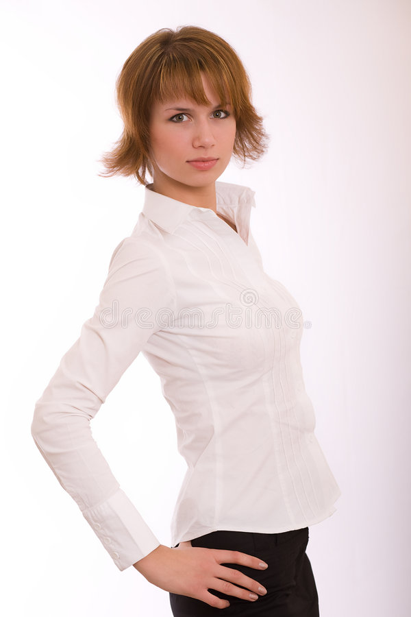 The girl in a white shirt stock photography