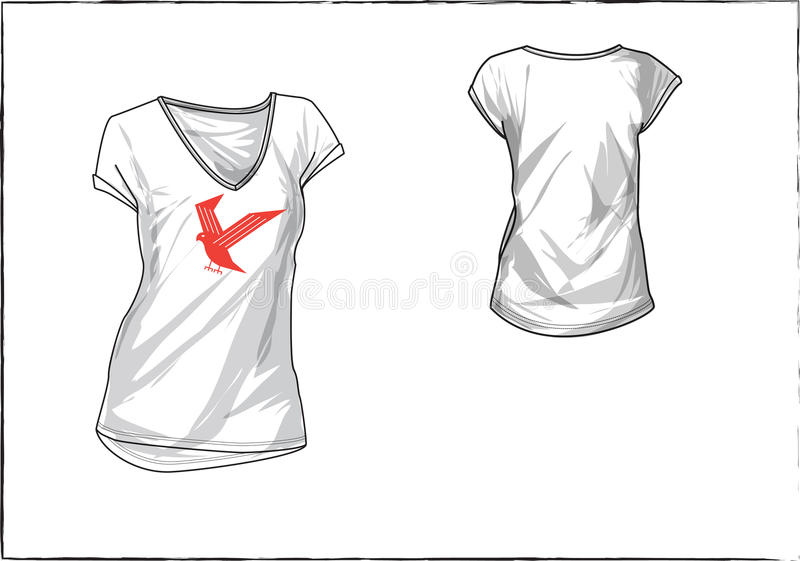 Girl white t-shirt with chest design stock photos