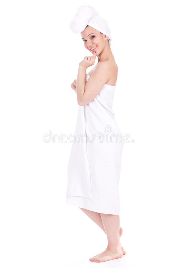 Download Girl in white towel stock image. Image of lady, hygiene - 18986173