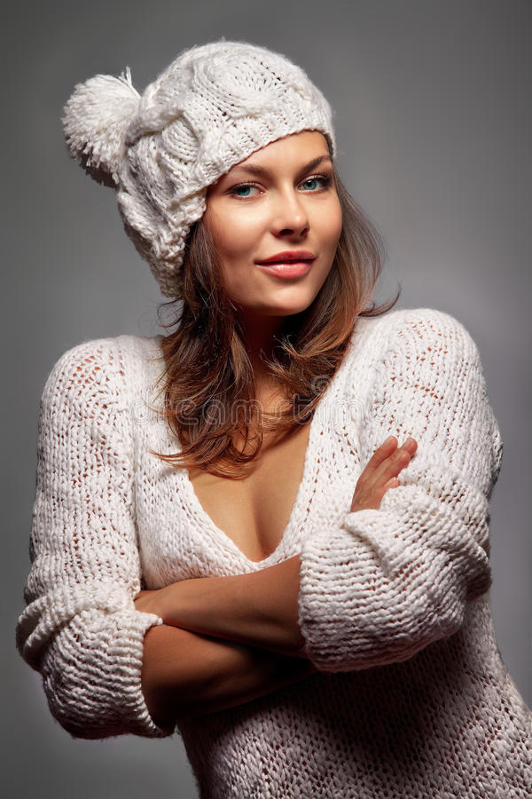 Download Girl in white wool and cap stock photo. Image of cosy - 33622252