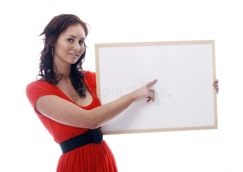 Girl with whiteboard stock photo