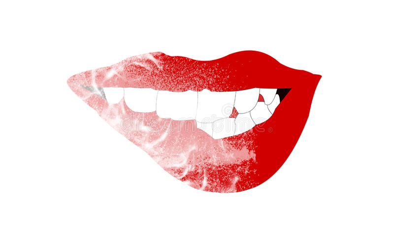The girl who biting her own red lips with her teeth royalty free stock photos