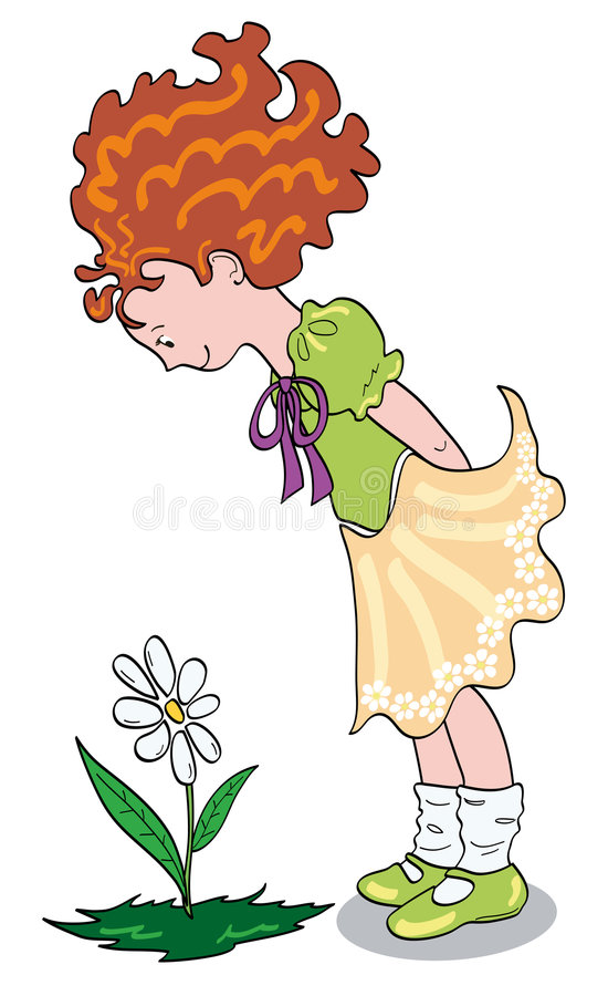 Free Girl Who Looks A Flower Royalty Free Stock Photo - 8713005