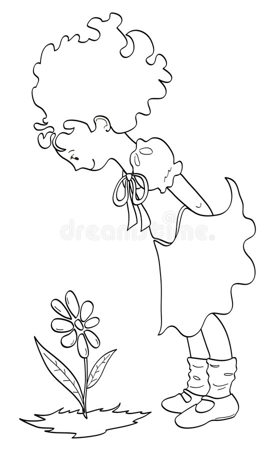 Free Girl Who Looks A Flower Royalty Free Stock Image - 8713036