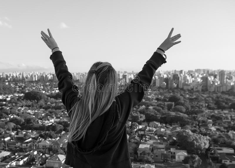 Girl with wide arms open royalty free stock images