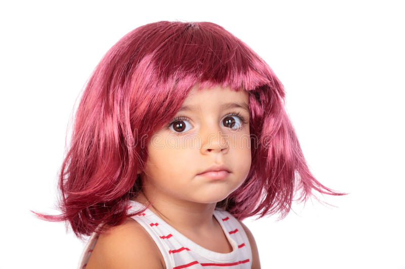 Girl and wig royalty free stock photos